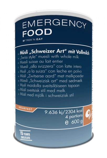 """Emergency Food Müsli """"Schweizer Art"""" mit Vollmilch"""